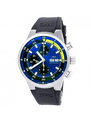 IWC Aquatimer Cousteau Divers Stainless Steel Auto Black Blue Men Watch IW378203