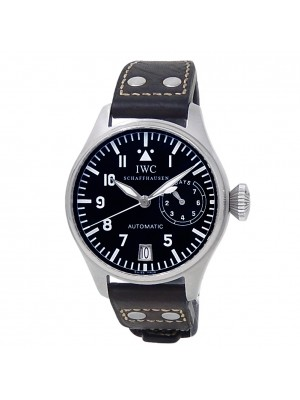 IWC Big Pilot Stainless Steel Black Leather Automatic Black Men's Watch IW500201