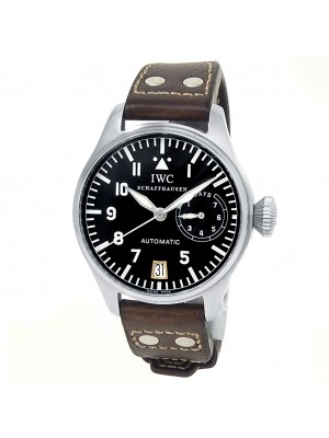 IWC Big Pilot Stainless Steel Brown Leather Automatic Black Men's Watch IW500201
