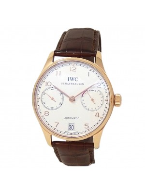IWC Portugieser 18k Rose Gold Brown Leather Auto Silver Men's Watch IW500701