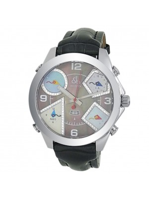 Jacob & Co Five Time Zones Stainless Steel Dark Mother of Pearl Watch JC-54PDAA