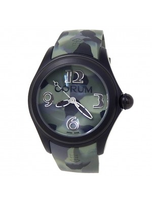 Corum Bubble Black PVD Stainless Steel Rubber Green Camouflage Watch L082/03303