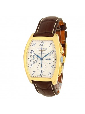 Longines Evidenza 18k Yellow Gold Leather Auto Silver Men's Watch L2.643.6.73.2