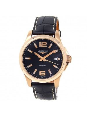 Longines Conquest 18k Rose Gold Leather Automatic Black Mens Watch L3.676.8.56.3