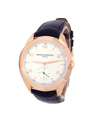 Baume & Mercier Clifton 18k Rose Gold Leather Manual Silver Men's Watch M0A10060