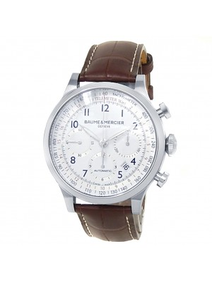 Baume & Mercier Capeland Stainless Steel Leather Auto White Men's Watch M0A10082