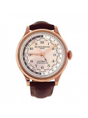 New Men's 18k Rose Gold Baume & Mercier Capeland Worldtimer Automatic Watch
