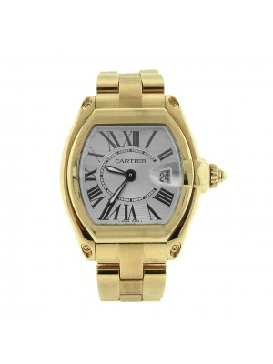 Cartier Roadster 18K Yellow Gold Silver Dial Swiss Quartz Ladies Watch 2676