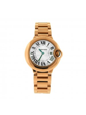 Cartier Ballon Bleu 18K Rose Gold Roman Numerals Quartz Ladies Watch W69002Z2