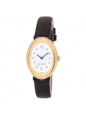Bvlgari Ovale 18k Yellow Gold Leather Quartz Diamonds White Ladies Watch OV32G