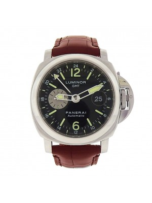Panerai Luminor GMT PAM00088 Stainless Steel Black Leather Automatic Black Men's Watch