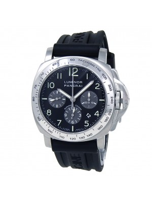 Panerai Luminor Chronograph Stainless Steel Rubber Black Men's Watch PAM00162