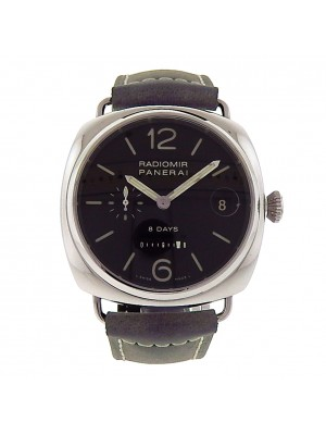 Panerai Radiomir 8 Days PAM00268 Stainless Steel Grey Leather Manual Men's Watch