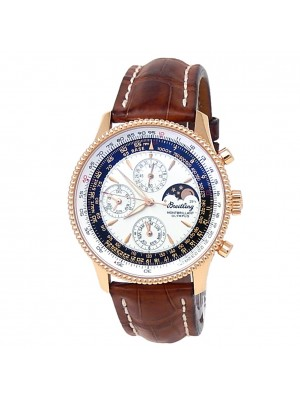 Breitling Navitimer 18k Rose Gold Brown Leather Auto Silver Men's Watch R19350
