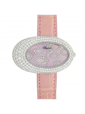 Chopard Classique 139109-1003 18K White Gold Pink Leather Diamonds Ladies Watch