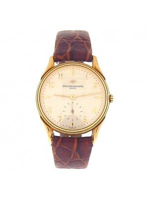 Vacheron Constantin Vintage 18k Yellow Gold Brown Leather Manual Men's Watch