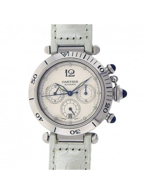 Cartier Pasha W31030H3 Stainless Steel White Leather Chronograph Automatic White Watch