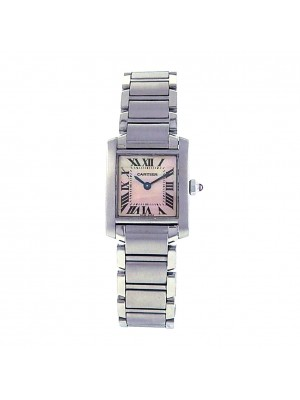 Cartier Ladies Stainless Steel Tank Francaise Mother of Pearl Dress Watch