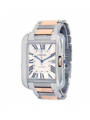 Cartier Tank Anglaise 18k Rose Gold Steel Automatic Silver Men's Watch W5310006
