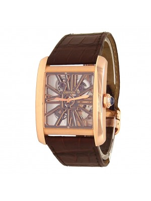 Cartier Tank MC 18k Rose Gold Brown Leather Manual Skeleton Men's Watch W5310040