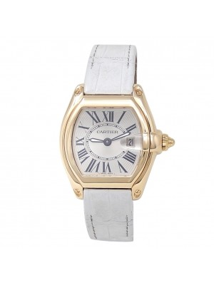 Cartier Roadster 18k Yellow Gold Leather Quartz Silver Ladies Watch W62018Y5