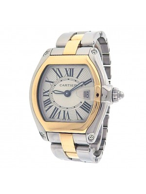 Cartier Roadster W62026Y4 Stainless Steel 18k Yellow Gold Quartz Silver Ladies Watch