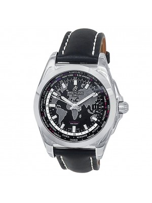 Breitling Galactic Unitime World Map Stainless Steel Auto Black Watch WB3510
