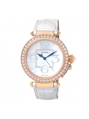 Cartier Pasha 18k Rose Gold Automatic Diamonds Mother of Pearl Watch WJ124005