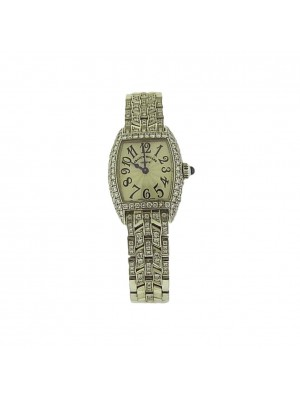Franck Muller Ladies 18k White Gold Cintree Curvex 2500 QZD Diamond Dress Watch