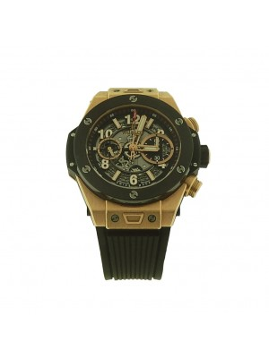 Men's 18K Gold Hublot Big Bang Unico Rose Gold Skeleton Chronograph Watch