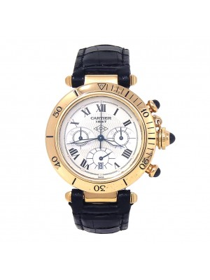 Cartier Pasha 18k Yellow Gold Quartz Chronograph Men's Watch 0960 1