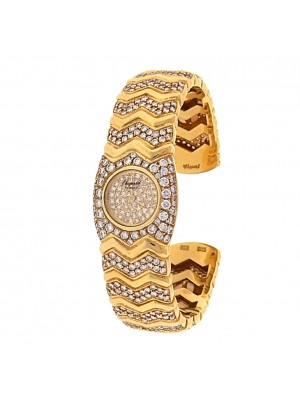 Chopard Happy Diamonds 18k Yellow Gold Bangle Quartz Diamonds Pave Ladies Watch