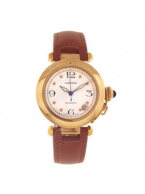 Cartier Pasha 18k Yellow Gold Date Display Automatic Ladies Watch 1035
