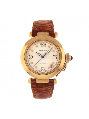 Cartier Pasha 1035 18k Yellow Gold Brown Leather Automatic White Men's Watch