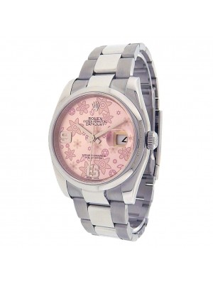 Rolex Datejust 116200 Stainless Steel Oyster Automatic Pink Floral Watch