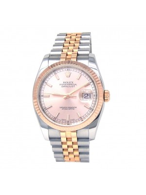 Rolex Datejust Stainless Steel & 18k Rose Gold Fluted Bezel Automatic 116231