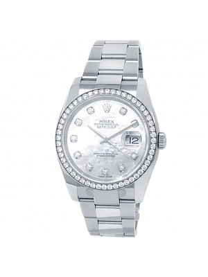 Rolex Datejust Stainless Steel Oyster Auto Diamond Mother of Pearl Watch 116244