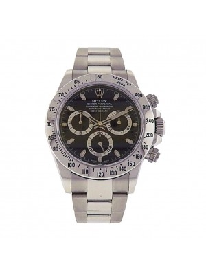 Rolex Daytona 116520 Stainless Steel Chronograph Automatic Oyster Black Men's Watch