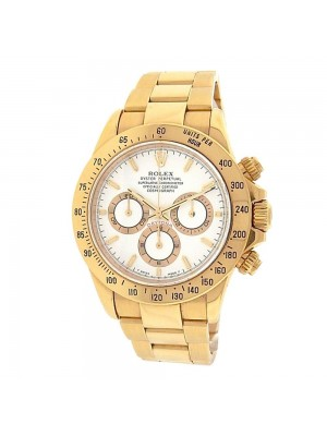 Rolex Daytona 18K Yellow Gold White Dial Automatic Cosmograph Men's Watch 116528