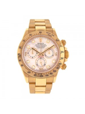 Rolex Daytona 18K Yellow Gold Diamond Dial Automatic Chrono Men's Watch 116528