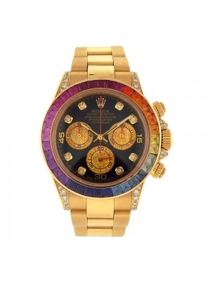 Rolex Daytona 18K Yellow Gold Black Dial Automatic Chronograph Mens Watch 116528