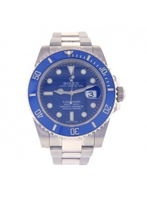 Rolex Submariner Smurf 18k White Gold Automatic Men's Watch 116619LB