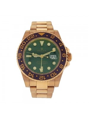 Rolex GMT Master II Date Green Dial 18K Yellow Gold Automatic Men's Watch 116718