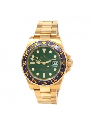 Rolex GMT-Master II 18k Yellow Gold Green Dial Automatic Men's Watch 116718