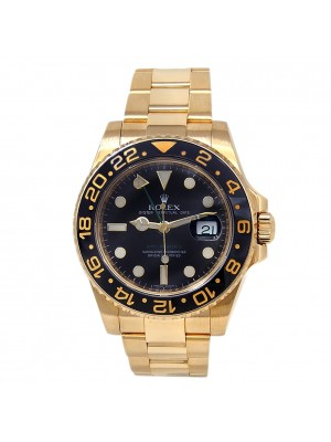 Rolex GMT-Master II 18k Yellow Gold Oyster Automatic Black Men's Watch 116718