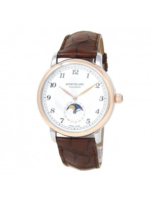 Montblanc Star Legacy Moonphase Gold Steel Leather Silver Men's Watch 117580