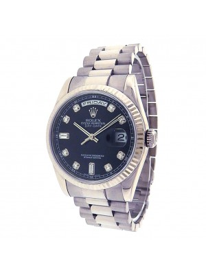 Rolex Day-Date 118209 White Gold President Automatic Diamonds Black Men's Watch