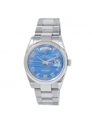 Rolex Day-Date 18k White Gold Oyster Automatic Blue Wave Men's Watch 118209