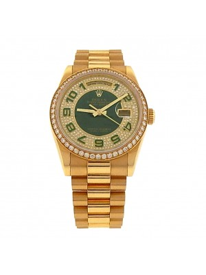 Rolex Day-Date 118348 18k Auto President Diamonds Pave Green Enamel Men's Watch