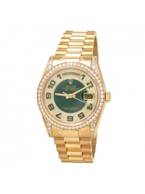Rolex Day-Date 18k Yellow Gold Diamond Dial & Bezel Automatic Men's Watch 118388